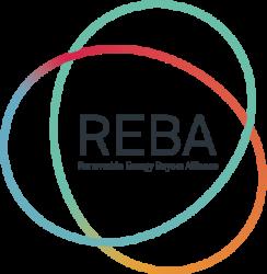 REBA logo name inside swirls